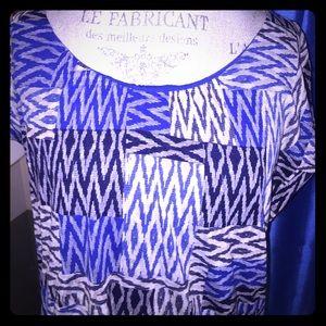 Liz Claiborne Royal, Navy and Tan patterned Shirt